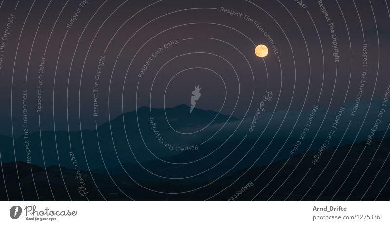 Mond über Kreta Natur Landschaft Luft Himmel Wolkenloser Himmel Vollmond Hügel Felsen Berge u. Gebirge Gipfel dunkel gelb violett schwarz Wolkenformation