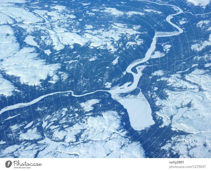 es war Winter in Kanada... II Natur Landschaft Eis Frost Schnee Wald Berge u. Gebirge See Fluss Flugzeugausblick frieren unten Heimweh Höhenangst Abenteuer