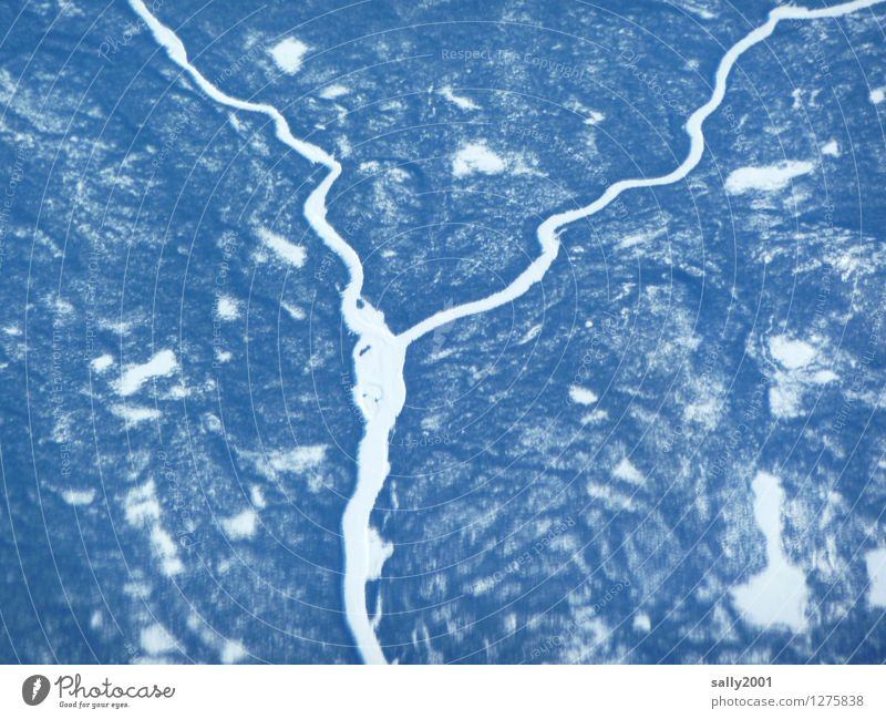 Lebensadern... Natur Landschaft Winter Klima Eis Frost Schnee Wald Fluss Flugzeugausblick frieren fantastisch kalt unten Fernweh Einsamkeit Höhenangst