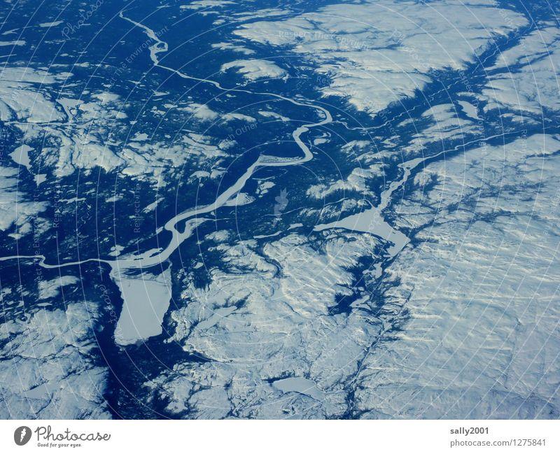kalt | Eiszeit... Umwelt Natur Winter Klimawandel Frost Schnee Hügel See Fluss Flugzeugausblick außergewöhnlich Ferne frei gigantisch Unendlichkeit Abenteuer
