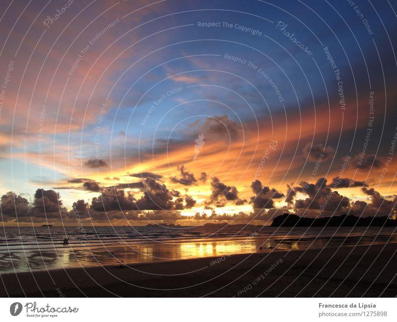 Kaugummi-Eis Himmel Ferien & Urlaub & Reisen blau Farbe Sommer Sonne Meer ruhig Wolken Ferne Strand gelb Küste Freiheit Stimmung Horizont