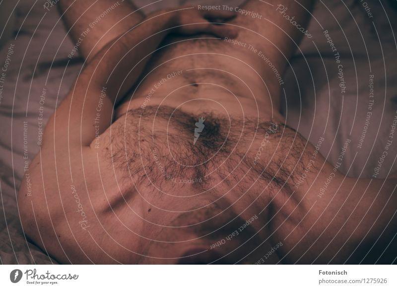 nackt im Bett 2 Mensch maskulin Junger Mann Jugendliche Erwachsene Körper Brust Bauch Oberkörper Schambereich Arme 18-30 Jahre Brustbehaarung Schamhaare