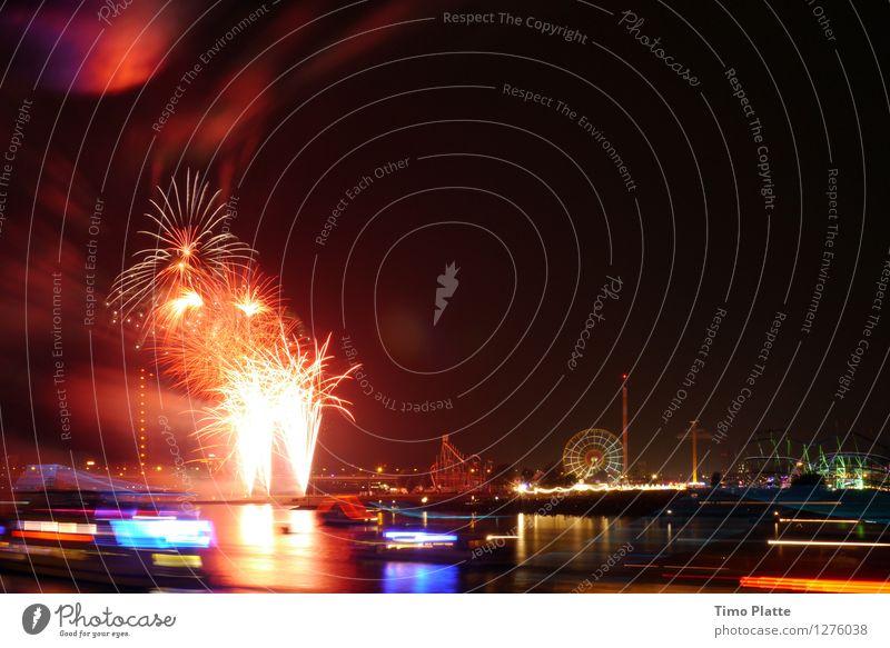 Feuerwerk Rheinkirmes 04 Stadt Brücke Rauch Flussufer Jahrmarkt Nachtleben Feierabend Hafenstadt Nachthimmel Fähre Passagierschiff