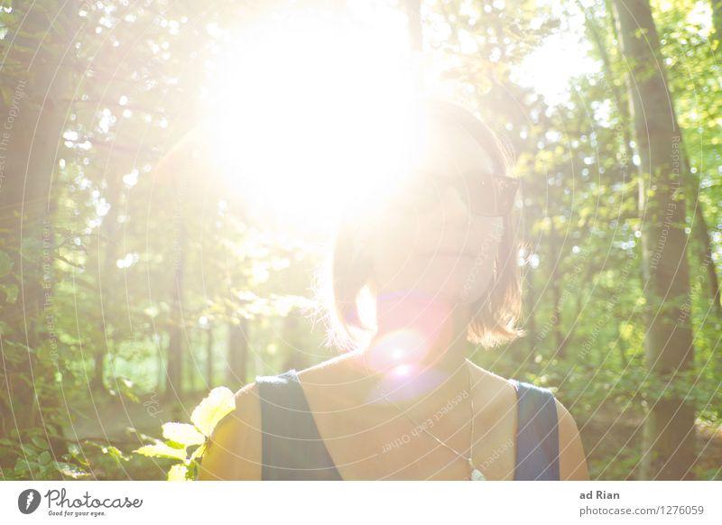 von der Sonne geküsst wandern feminin Junge Frau Jugendliche Kopf Haare & Frisuren 1 Mensch 18-30 Jahre Erwachsene Natur Landschaft Sommer Schönes Wetter Baum