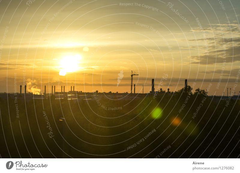 Flughafenromantik III Himmel Sonnenaufgang Sonnenuntergang Luftverkehr gold schwarz Industriegelände Baustelle Farbfoto Menschenleer Textfreiraum oben