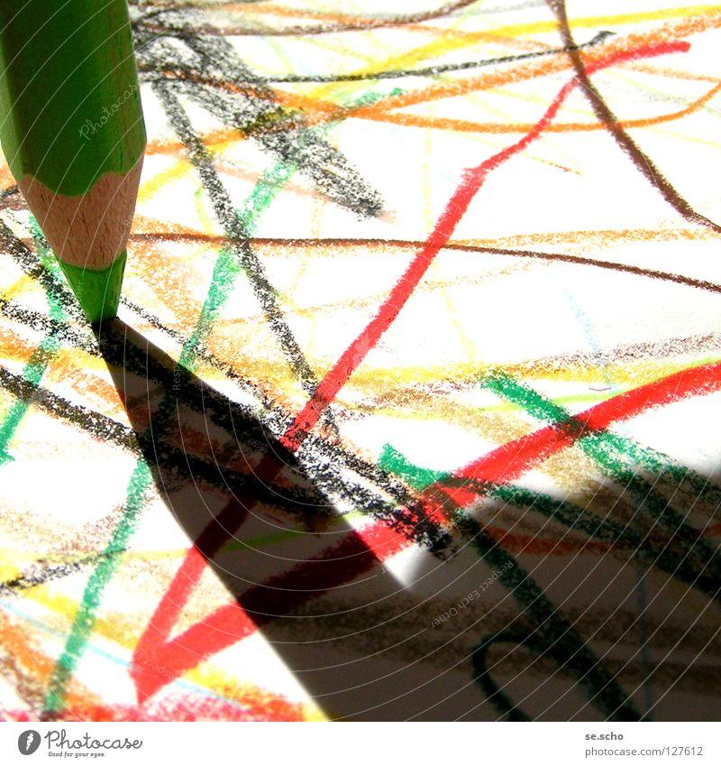 Naive Kunst I Gemälde Schreibstift Papier mehrfarbig kindlich Farbe Krickelkrakel Schatten einfach Kindheit