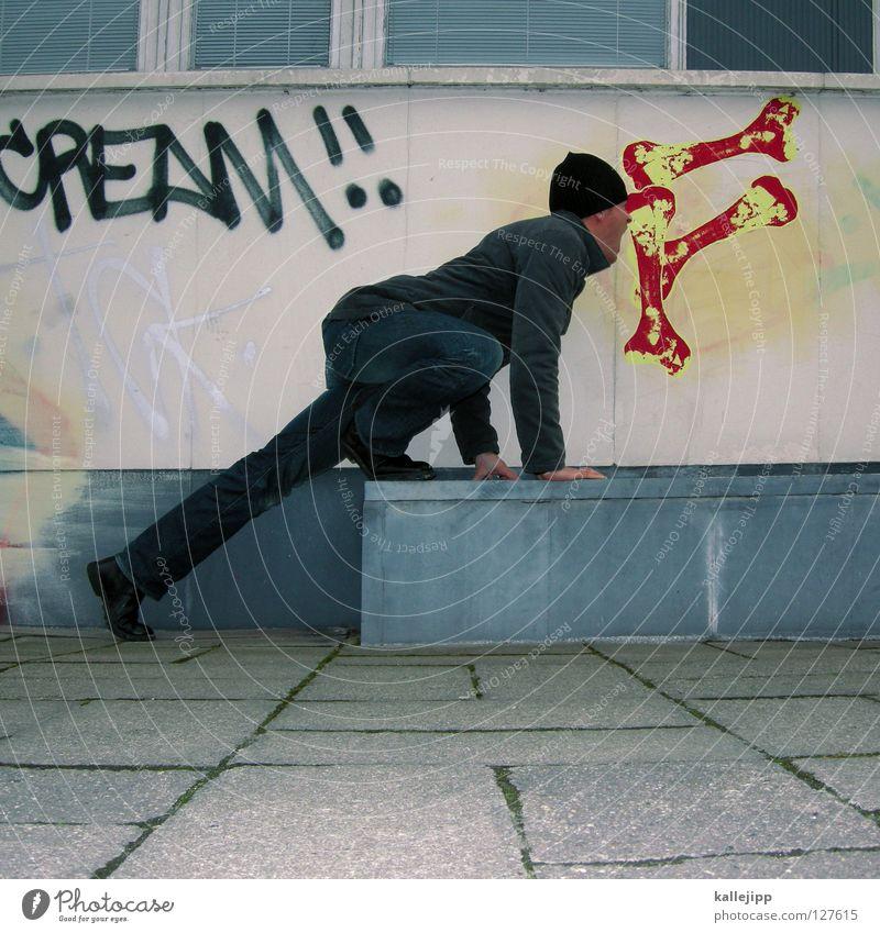 leinenpflicht Wandmalereien Straßenkunst Spaßvogel Witz lustig Appetit & Hunger Mann Hundefutter Außenaufnahme Zentralperspektive spaßig