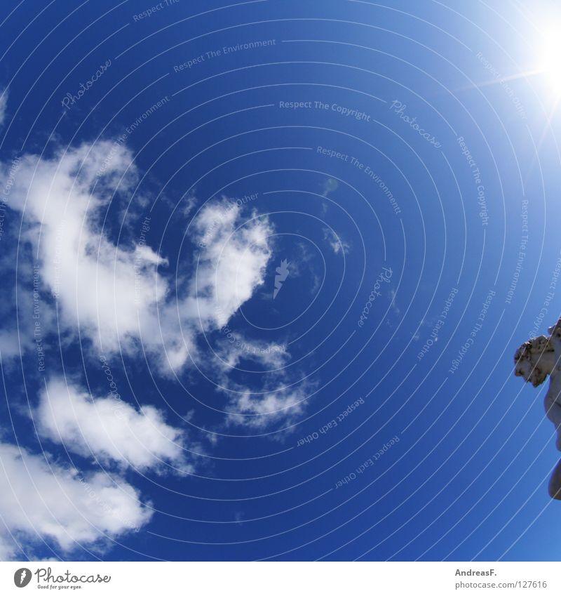 Petrus Himmel Sonne Sommer Wolken Wärme Park Wetter Physik Denkmal Statue Schönes Wetter Sonnenbad Gott antik Griechenland Blauer Himmel