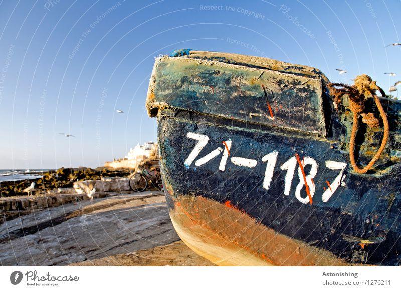71-1187 Umwelt Natur Wasser Horizont Sommer Wetter Schönes Wetter Felsen Wellen Küste Meer Atlantik Essaouira Markt Dorf Hafenstadt Haus Schifffahrt Bootsfahrt