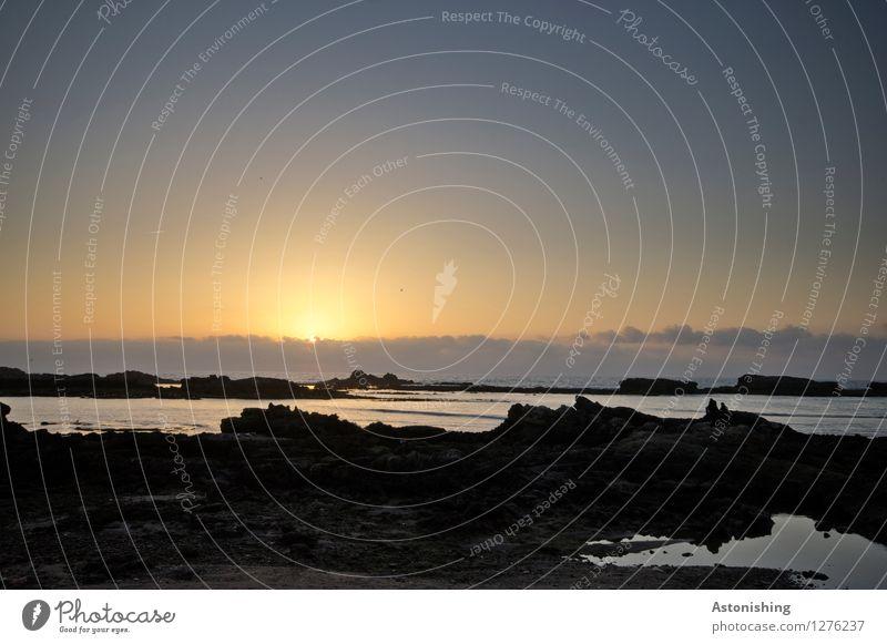 am Atlantik II Umwelt Natur Landschaft Luft Wasser Himmel Wolken Horizont Sonne Sonnenaufgang Sonnenuntergang Sonnenlicht Wetter Schönes Wetter Felsen Wellen