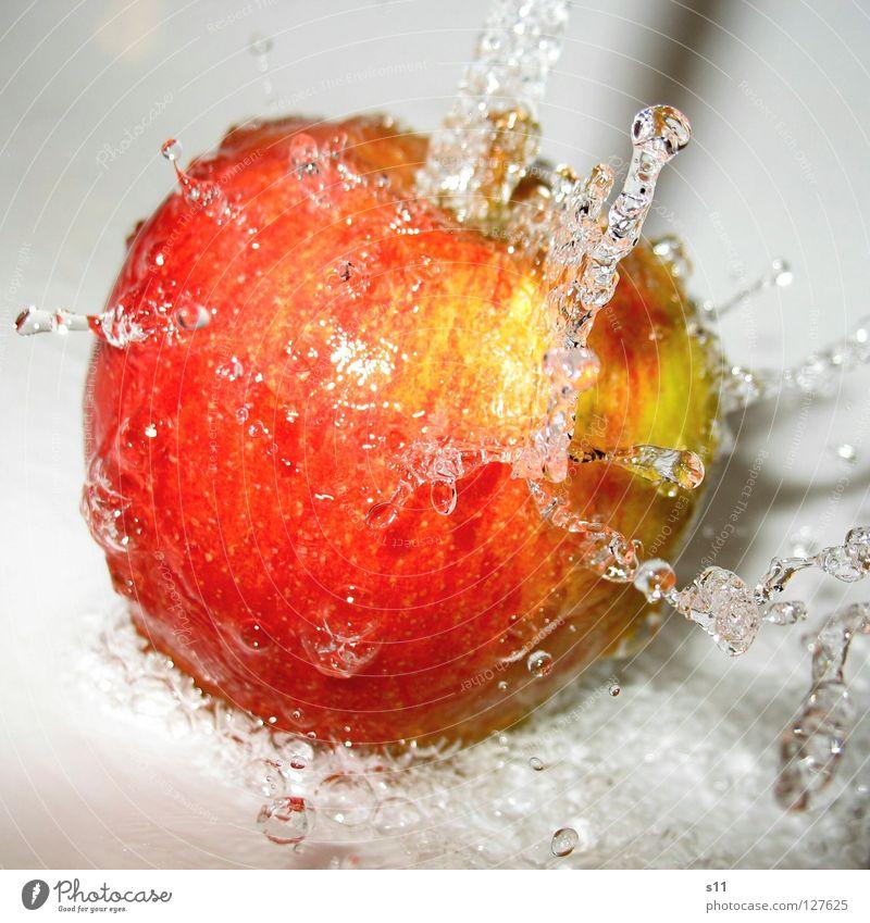ApfelSprudel Natur grün Wasser rot gelb Gesundheit Frucht frisch Ernährung Haut Wassertropfen süß rund Wut Apfel Erfrischung