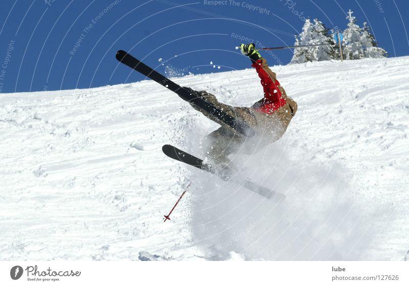 Skiflug Winter Sturz Skifahrer Sport Spielen Wintersport Skisturz Skifahren Schnee Skiverletzung Gips