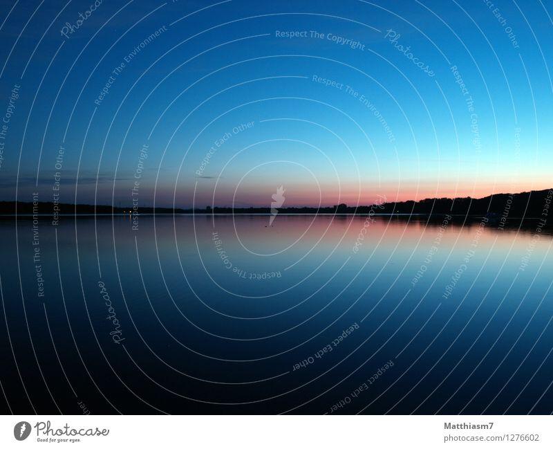 Morgenstille ruhig Landschaft Wasser Himmel Wolkenloser Himmel See warten weich blau rosa schwarz Gefühle Glück Zufriedenheit Kraft Vertrauen Geborgenheit