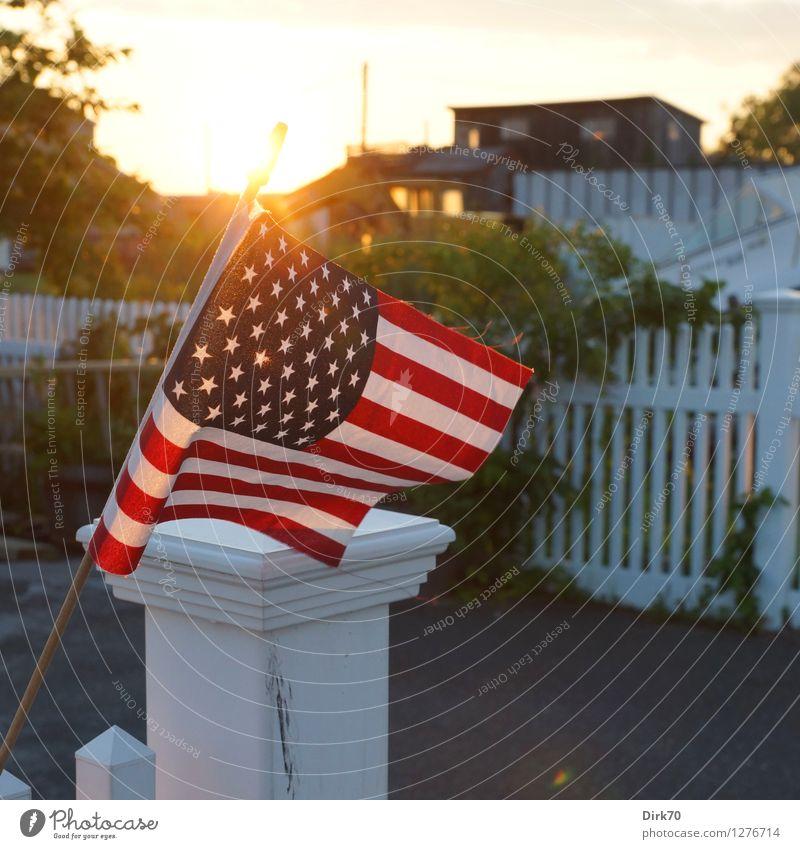 My home, my castle Sommer Haus Wärme Garten Wohnung Häusliches Leben Idylle Sträucher Warmherzigkeit Schönes Wetter Zusammenhalt USA Fahne Geborgenheit