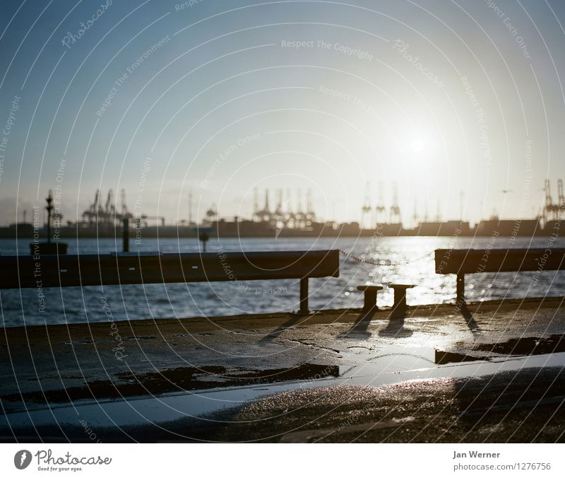 Hafen Hamburg Horizont Sonnenaufgang Sonnenuntergang Sonnenlicht Frühling Herbst Wetter Schönes Wetter Küste Hamburger Hafen Stadt Hafenstadt Menschenleer