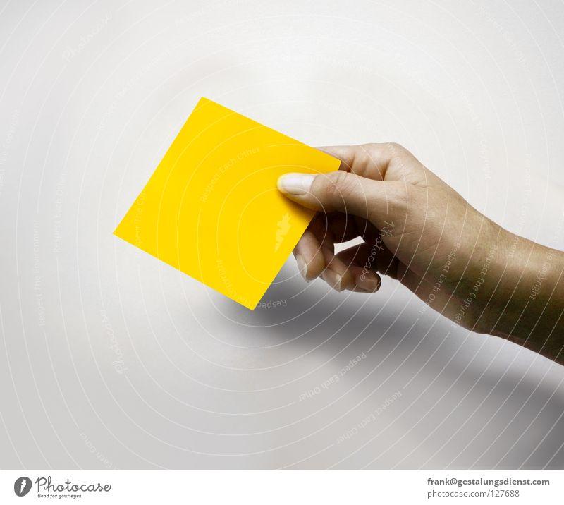 Handquadrat Hand gelb Farbe Finger Quadrat Zettel geben