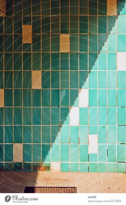 Muster Wand Mauer Fassade einfach türkis Fliesen u. Kacheln eckig Hauseingang