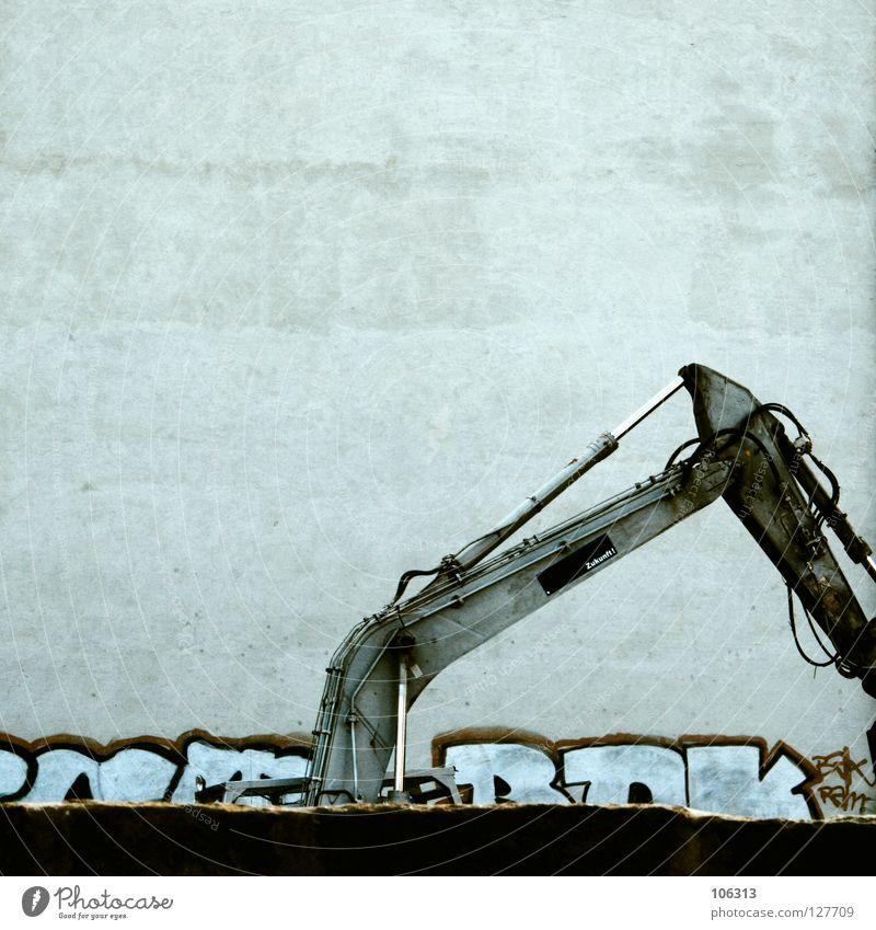 WER BAGGERT DA SO SPÄT NOCH AM BAGGERLOCH? Haus Wand Graffiti Stil Mauer träumen Metall Arbeit & Erwerbstätigkeit Kraft Schilder & Markierungen neu Zukunft