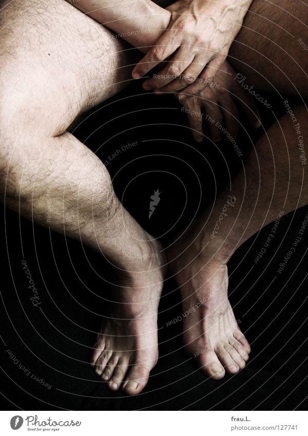 Hand und Fuß Mann alt nackt Gesundheit Freizeit & Hobby 50 plus Sportler Barfuß Läufer Knie Wade unrasiert Marathonläufer
