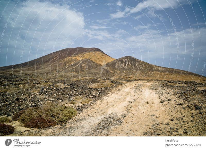 Vulkanlandschaft Ferien & Urlaub & Reisen Berge u. Gebirge Natur Landschaft Hügel Wege & Pfade heiß hell trocken La Graciosa Lanzarote Montania Amarilla Piste