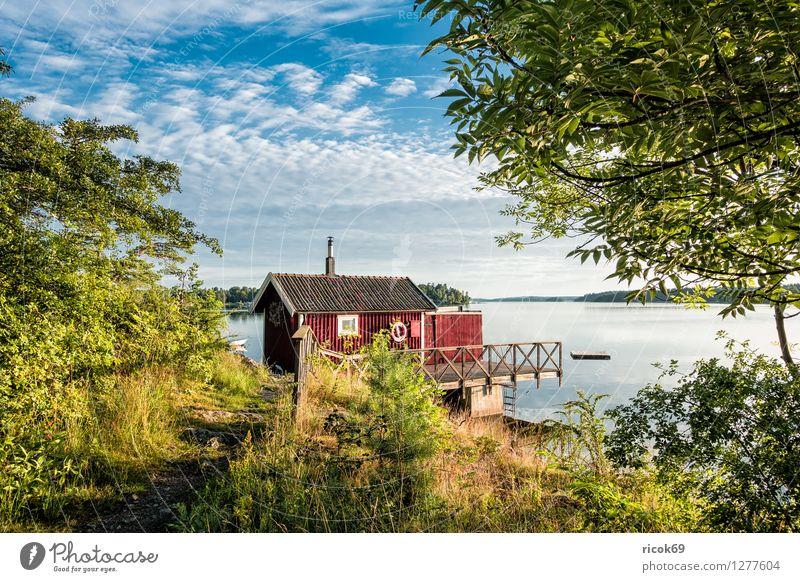 Schären an der schwedischen Küste Natur Ferien & Urlaub & Reisen blau grün Baum Erholung Landschaft Wolken Wasserfahrzeug Tourismus Insel Ostsee Steg