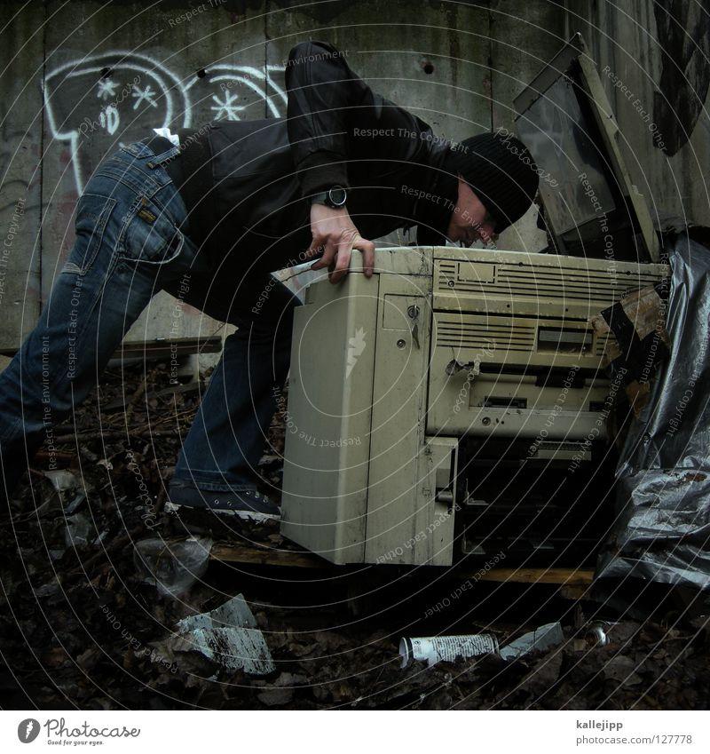 © Mensch Mann Haus gelb Farbe Wand Graffiti Arbeit & Erwerbstätigkeit Raum dreckig Beton Design Papier Technik & Technologie Grafik u. Illustration Müll