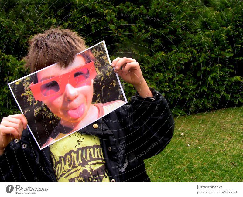 Das zweite Gesicht Kind rot Freude Gesicht Junge lustig rosa Fotografie Fröhlichkeit Coolness Brille geheimnisvoll verstecken Sonnenbrille frech Poster