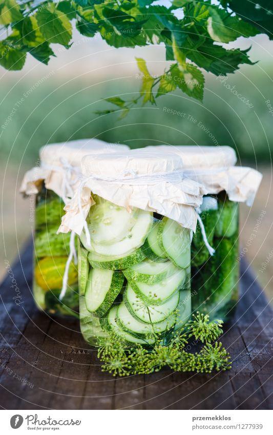 Eingelegte Gurken mit Hausgarten Gemüse und Kräutern Kräuter & Gewürze Vegetarische Ernährung Garten Blatt frisch natürlich grün Bank konserviert Salatgurke