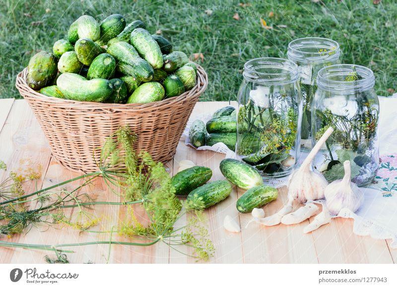 Vorbereiten der Bestandteile für in Essig einlegende Gurken Gemüse Kräuter & Gewürze Vegetarische Ernährung Garten frisch natürlich grün Korb konserviert