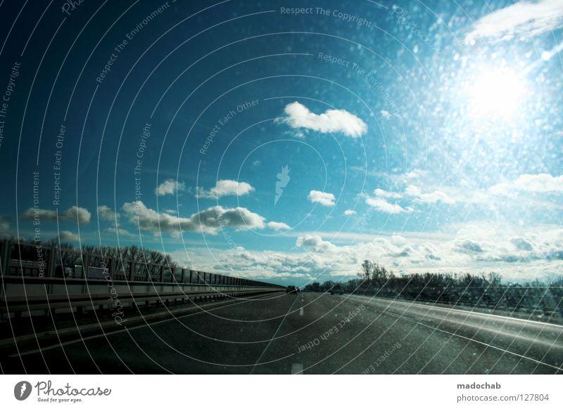 FREI Himmel blau schön Ferien & Urlaub & Reisen Sonne Freude Wolken Gefühle Freiheit Bewegung Wärme Glück PKW Denken dreckig Schilder & Markierungen