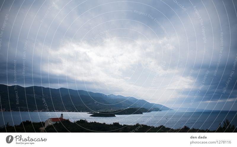 Regenfront über der Adria Natur Landschaft Urelemente Wasser Himmel Wolken schlechtes Wetter Wind Küste Seeufer Meer Insel Korcula entdecken Coolness gruselig