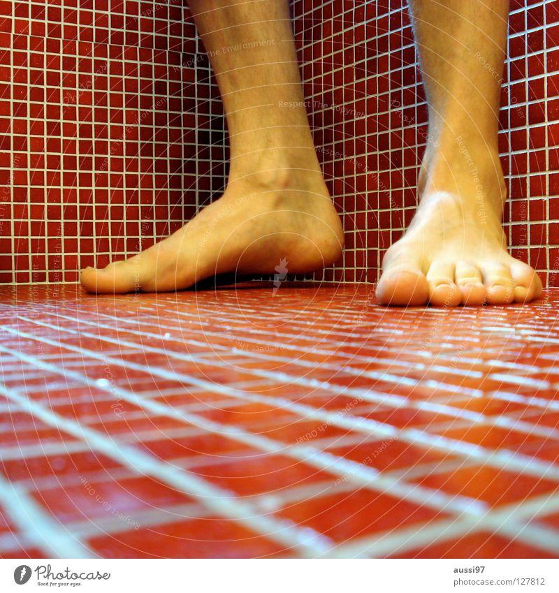Ausschwungphase Bad rot Quadrat Sprunggelenk Fliesen u. Kacheln Ecke Cubismus Fuß OSG Ende