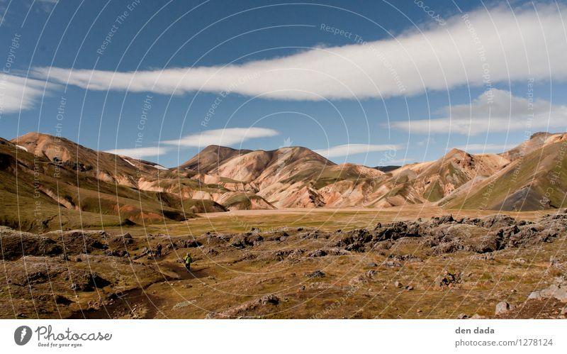 Landmannalaugar Iceland Mensch Natur Ferien & Urlaub & Reisen Sommer Einsamkeit Landschaft Ferne Berge u. Gebirge Umwelt Herbst Freiheit Felsen Tourismus