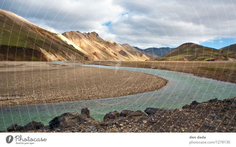 Landmannalaugar Iceland Landschaft Urelemente Erde Sand Wasser Wolken Sommer Hügel Felsen Berge u. Gebirge Fluss Island Europa Menschenleer außergewöhnlich