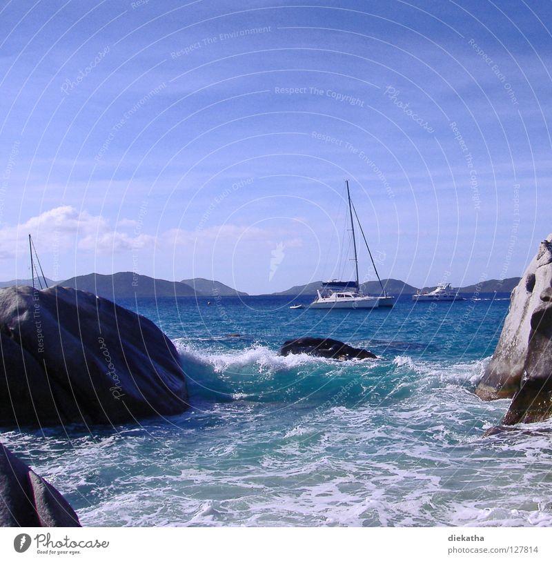 The Bath III Wellen Meer Schaum Strand Granit Horizont Ferne Segelboot Wasserfahrzeug Segeltörn Ferien & Urlaub & Reisen Karibisches Meer Rauschen Brandung