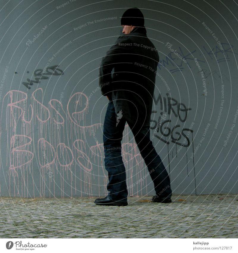 pipeline verlegen Mann Haus Wand Graffiti grau klein Arbeit & Erwerbstätigkeit rosa dreckig Wassertropfen Ecke Mütze Blase Handwerk Schwanz Schwein