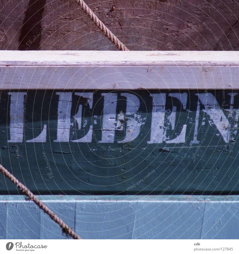 ... UND LIEBEN grün Farbe weiß dunkel Wand Leben Tod Holz braun Zusammensein hell Wasserfahrzeug Schriftzeichen gefährlich beobachten Seil