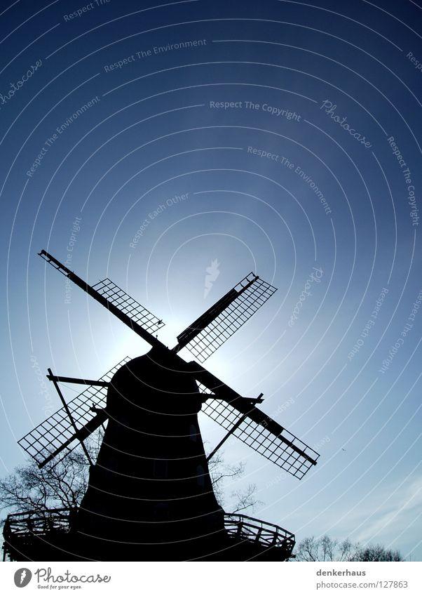 Versteckt! Mühle Windmühle Bauwerk Sonne weiß schwarz Silhouette historisch verstecken blau Himmel Schönes Wetter Kontrast Schatten