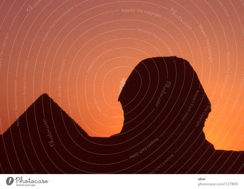 Sphinx Landschaft Kunst Kultur Wüste Vergänglichkeit Grab Fähre krumm Ägypten Tempel Pyramide beeindruckend Kunsthandwerk Nil Gizeh Kairo