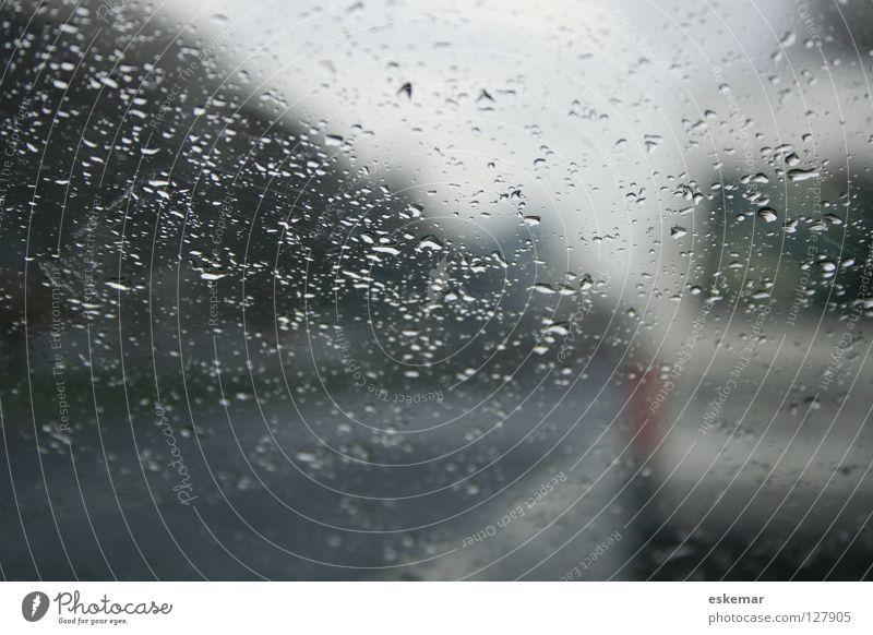 Sauwetter schlechtes Wetter Windschutzscheibe Regen Glasscheibe Verkehr Fahrbahn fahren parken Unwetter PKW grau Stadt November Herbst Winter Mobilität
