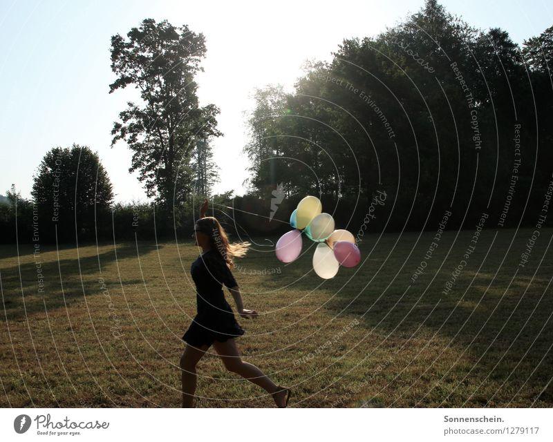 Runaway baby elegant Freude Glück feminin Junge Frau Jugendliche Leben Körper 1 Mensch 18-30 Jahre Erwachsene Umwelt Natur Landschaft Sonnenlicht Baum Wiese