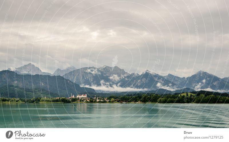 Forggensee und Füssen Himmel Natur Ferien & Urlaub & Reisen Stadt Pflanze Sommer Wasser Erholung Landschaft Wolken Haus Wald Berge u. Gebirge Hintergrundbild