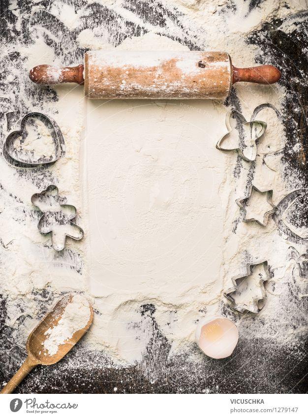Weihnachtsplätzchen backen Lebensmittel Teigwaren Backwaren Dessert Ernährung Löffel Stil Design Tisch Küche Feste & Feiern Kochlöffel Holz Tradition
