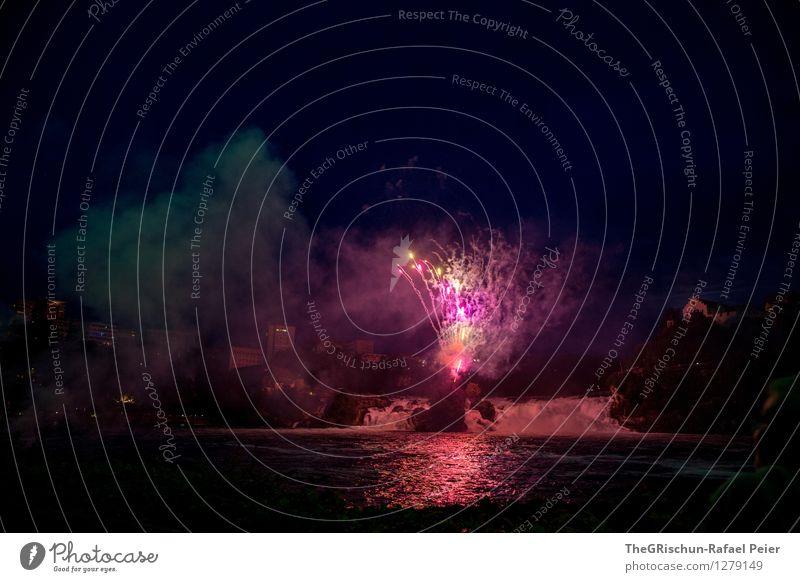Feuerwerk 9 grün Wasser weiß rot Haus dunkel schwarz Feste & Feiern Kunst hell Party rosa erleuchten Rauch Schweiz