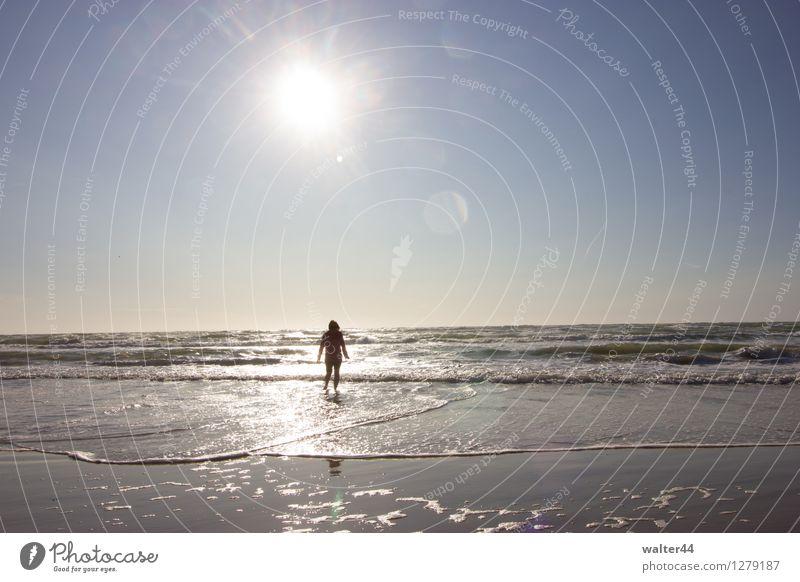 Alleine Mensch Himmel Natur Ferien & Urlaub & Reisen Sommer Wasser Sonne Meer Strand Wärme Freiheit Horizont Wellen Schönes Wetter Wolkenloser Himmel Nordsee