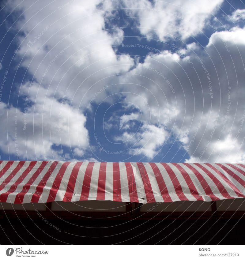 don't call me patriot Himmel weiß blau rot Wolken oben Wohnung stehen Dach Streifen vertikal Zelt Abdeckung schlechtes Wetter