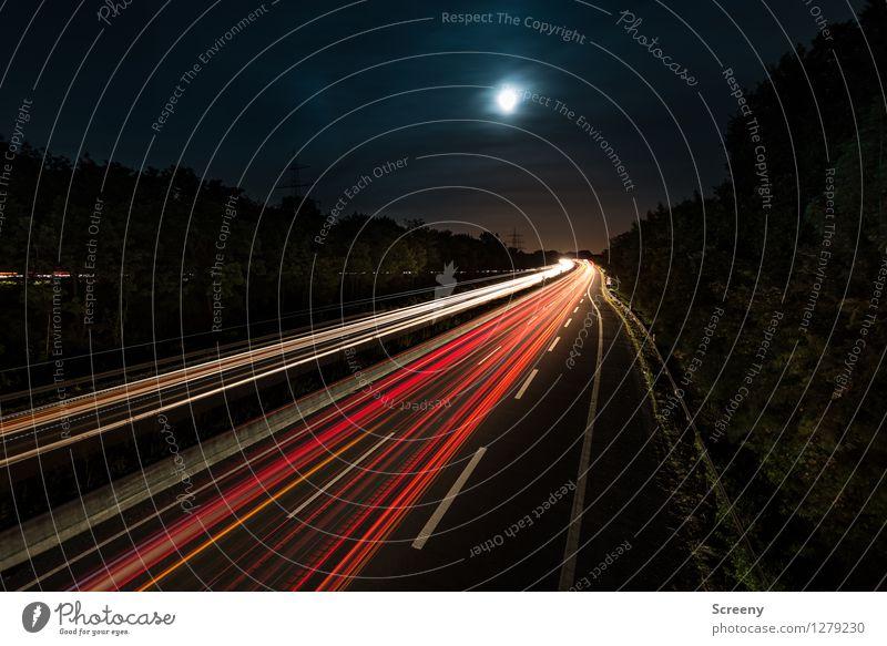 To the moon.... Landschaft Himmel Wolken Nachthimmel Mond Sommer Baum Verkehr Verkehrswege Personenverkehr Straßenverkehr Autofahren Wege & Pfade Autobahn