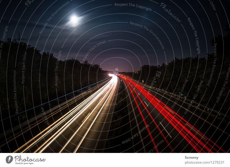 Zum Mond links abbiegen... Landschaft Himmel Wolken Vollmond Sommer Baum Verkehr Verkehrswege Personenverkehr Straßenverkehr Autofahren Wege & Pfade Autobahn