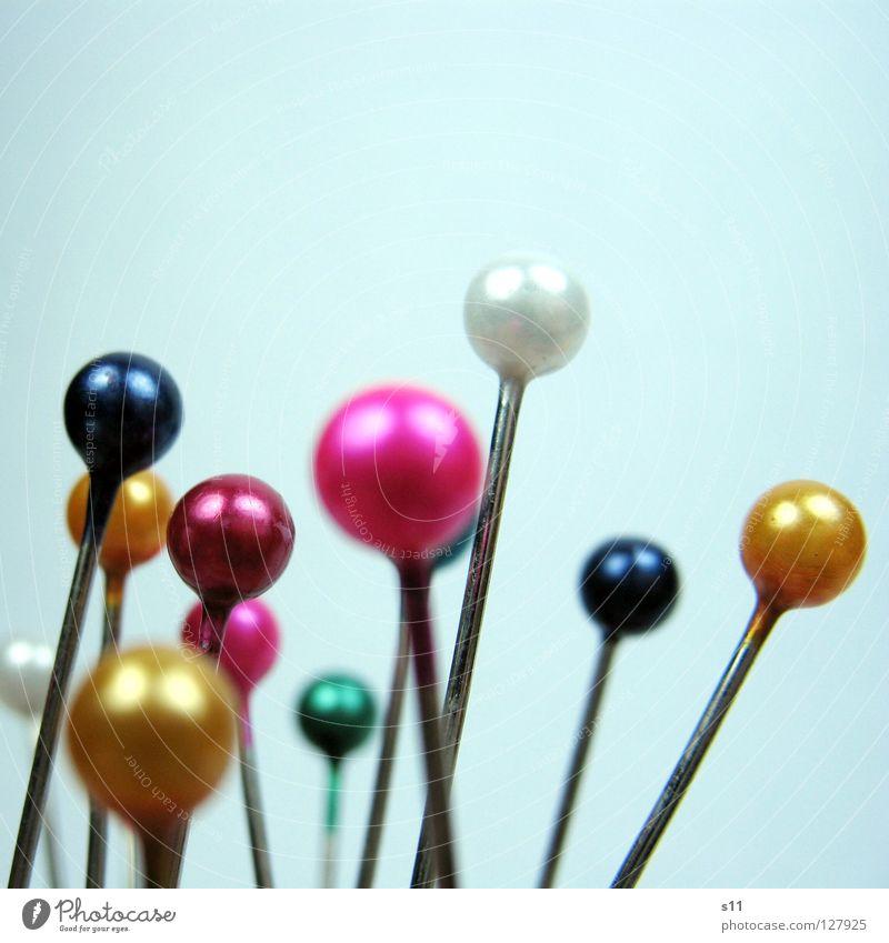 SteckNadeln blau weiß grün Farbe gelb Kunst rosa Freizeit & Hobby mehrere rund Spitze Stoff viele Kugel durcheinander Textilien