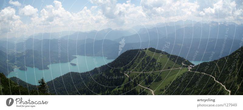 Walchensee Panorama Panorama (Aussicht) Herzogstand wandern Wolken Sommer Berge u. Gebirge Blauer Himmel groß